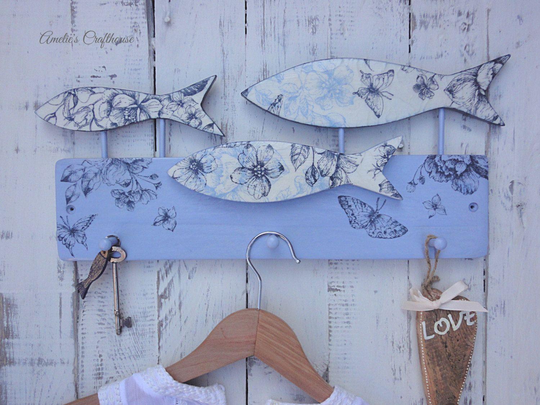 Fish Wall Hooks, Blue Shabby Chic Door Hooks, Towel Hooks, Bathroom Hooks,