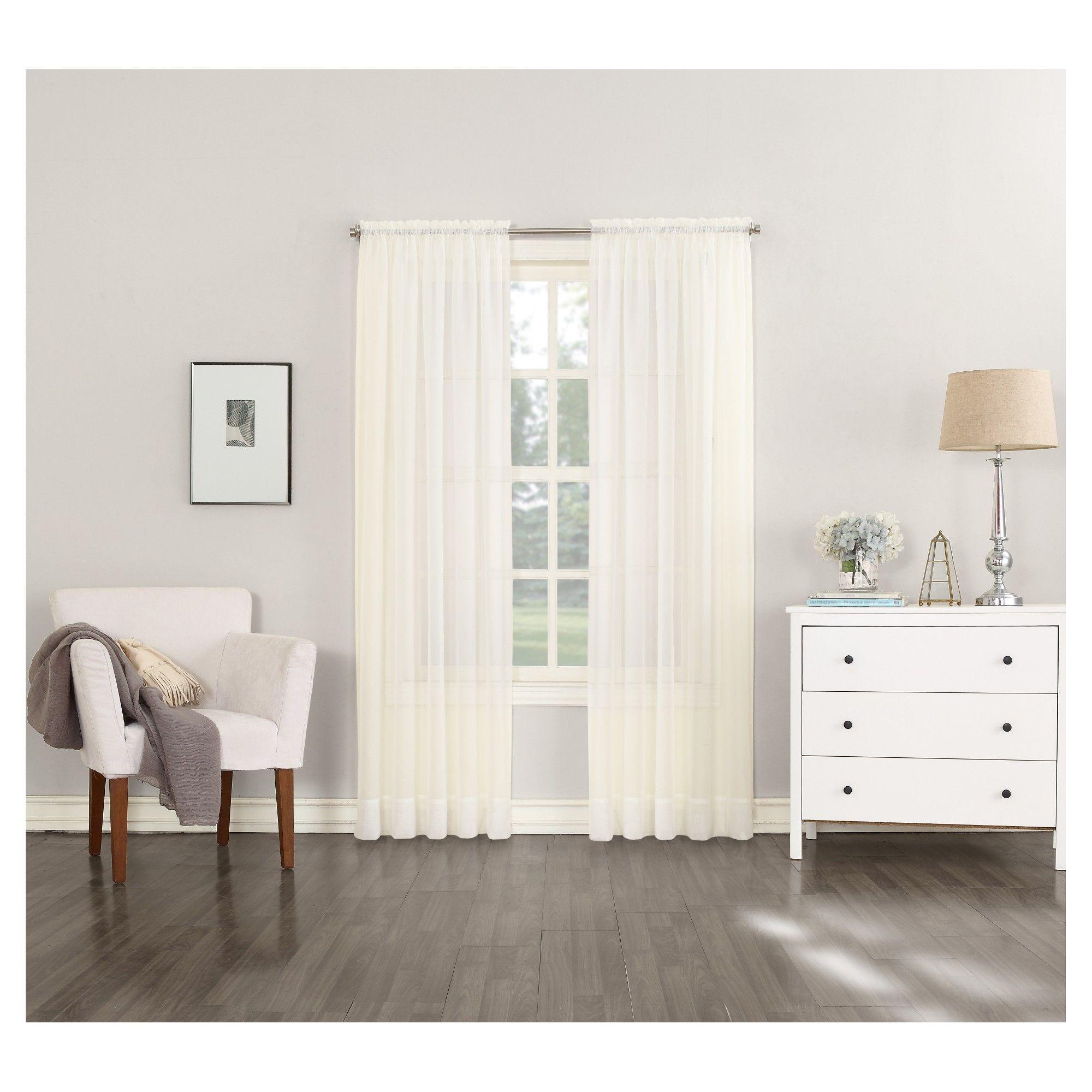No curtain window ideas  emily sheer voile rod pocket curtain panel eggshell