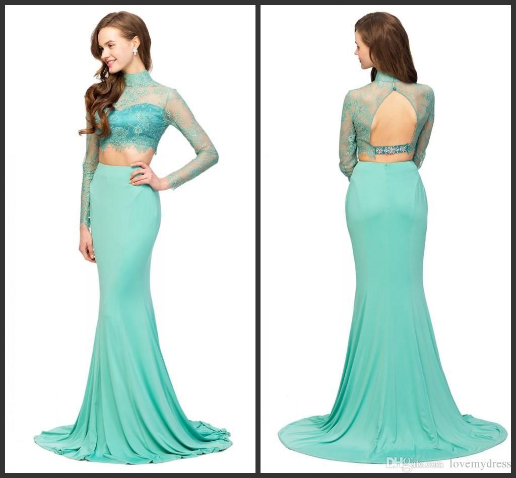 Mermaid Evening Dresses 2016 Long Sleeve Elegant High Neck Green ...