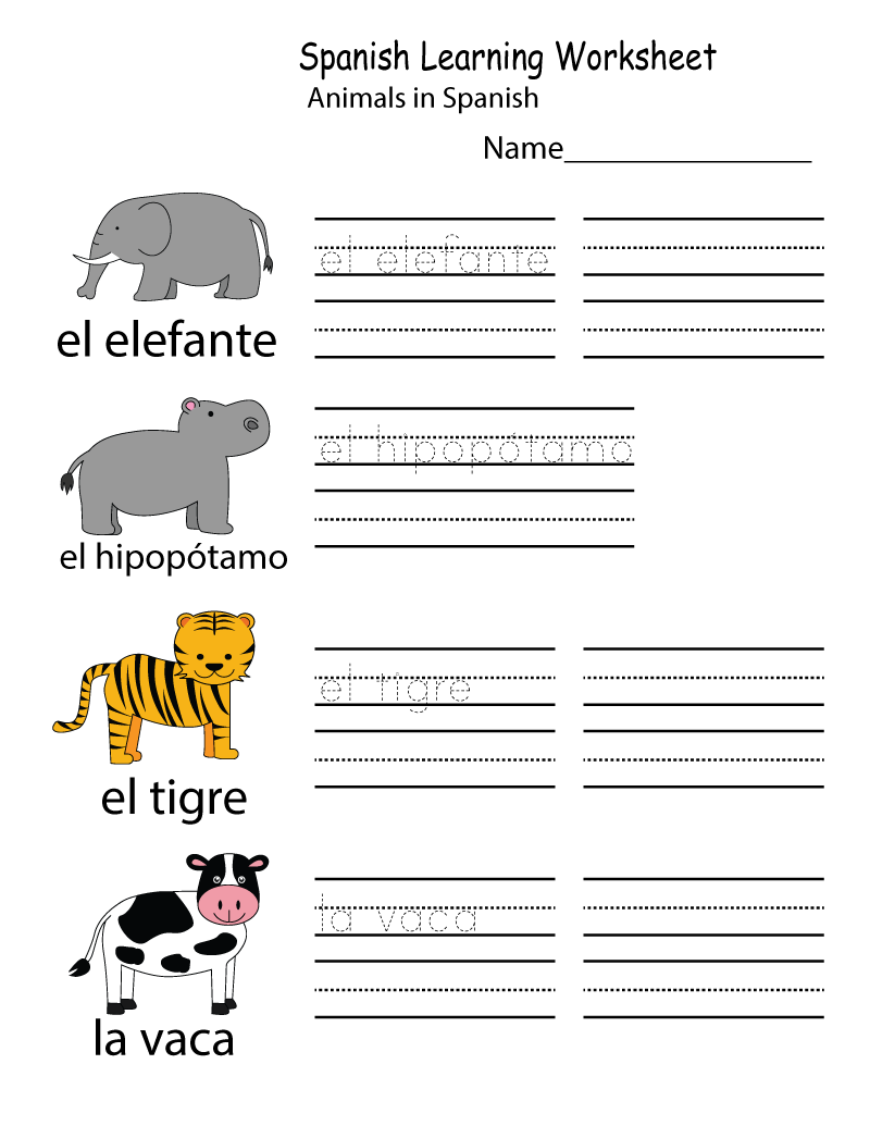 Spanish Learning Worksheets Learning Printable Kids Worksheets