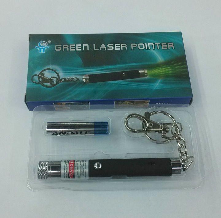 安い5mw緑色レーザーポインター小型 キーホルダー グリーンの光