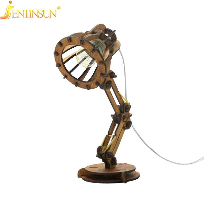 E27 Ampoule Creative Vintage Lampe Led En Nouvelle De Bureau Bois zUVqSjMpLG