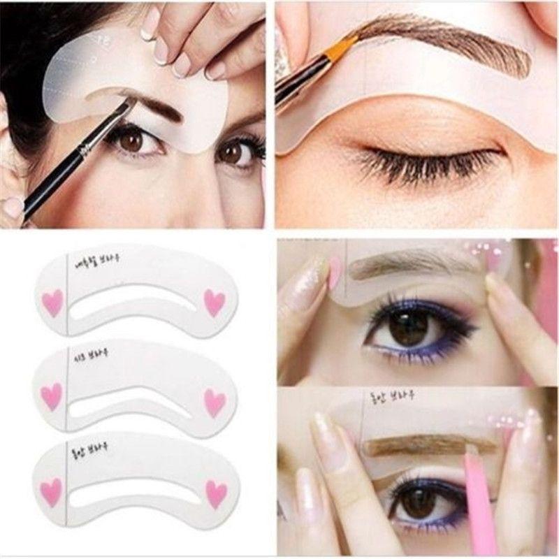 New Fashion Shaper Sale 3pcs Eyebrow Shape Stencils Grooming Kit Makeup Tool Diy Beauty Eyebrow Template Make U Eyebrow Grooming Beauty Eyebrow Grooming Brows