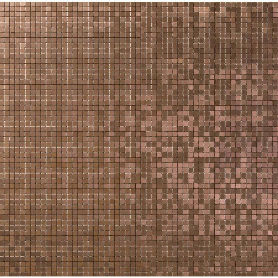 Solistone Micro Aluminum 10 Pack Brushed Copper 11 In X 11 In Metal Uniform Squares Mosaic Wall Tile Common 11 In X 11 In Actual 11 4375 In X 11 4375 In Lo Mosaic Wall Tiles Metal Mosaic Wall Mosaic
