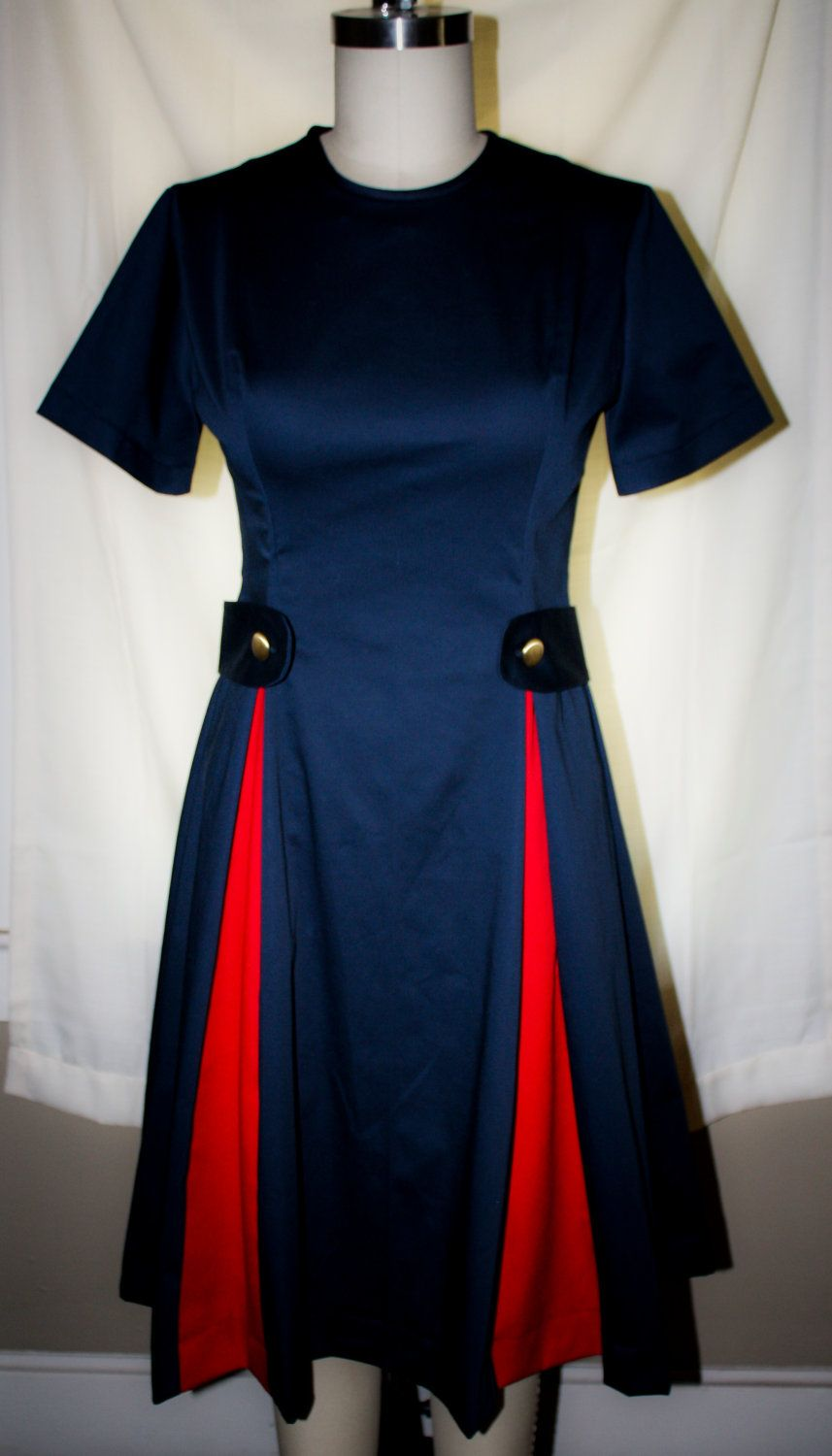 Peggy Olsen-60s Style Dress-Mad Men-Navy Blue With Red-Custom Sized ...