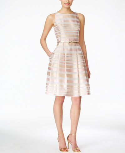 009ae73b9a8 Jessica Howard Sleeveless Belted Striped Fit   Flare Dress