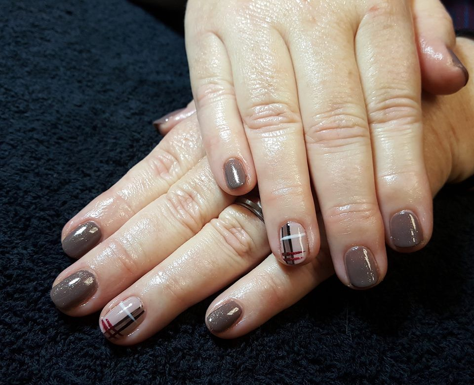 CND Shellac Nail Art by Gossamer Nail Studio. Plaid, Gray, Grey, Nude, Burberry, Fall, Accent