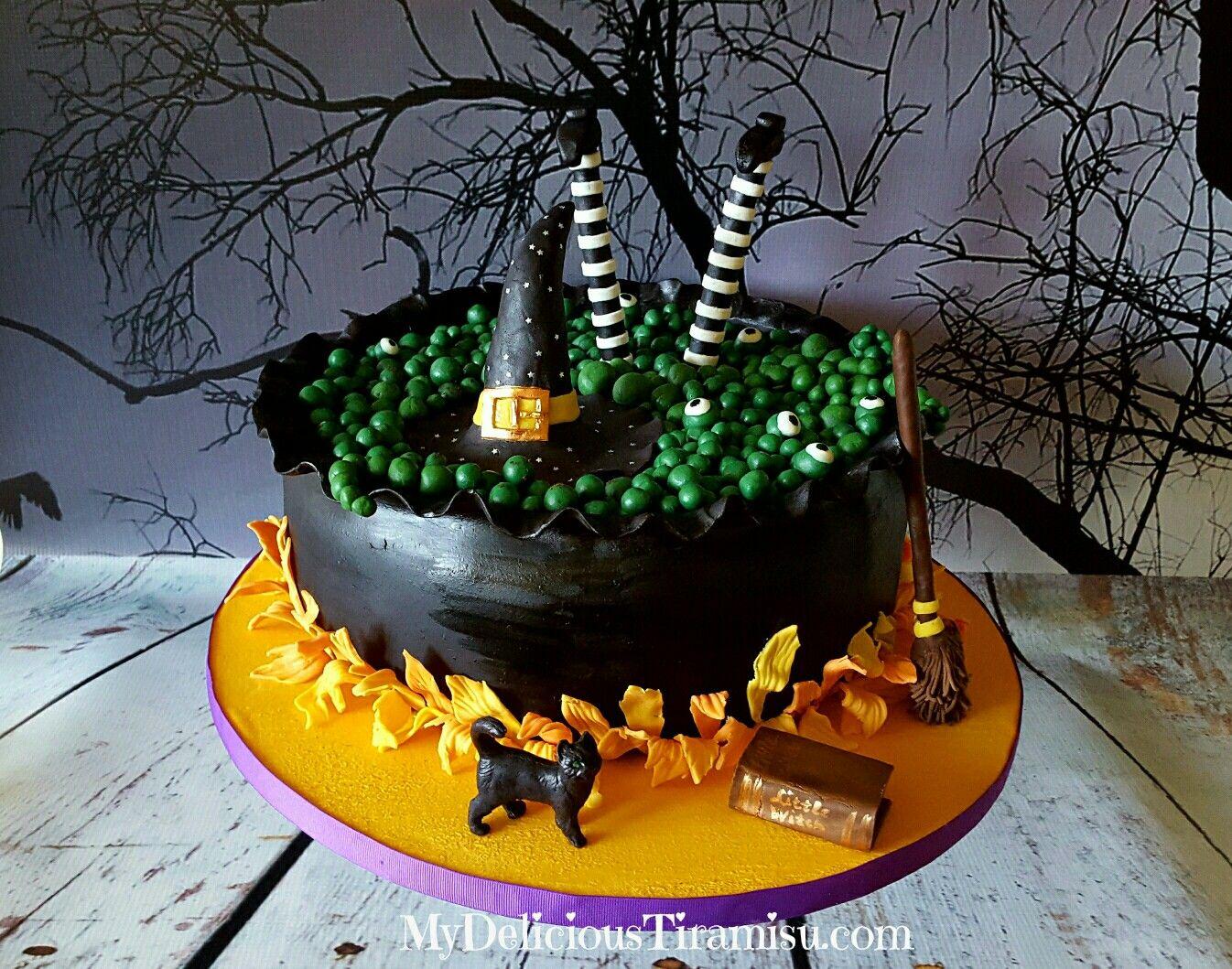 Classic Tiramisu Cake with chocolate Halloween witch Tiramisu