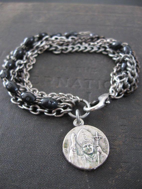 Black Rosary with Vintage Catholic Medallion Bracelet - Pope John Paul II
