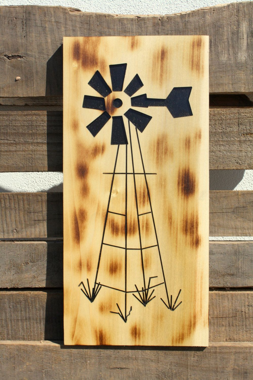 Rustic Home Decor, Carved wooden windmill wall art, Painted and ...