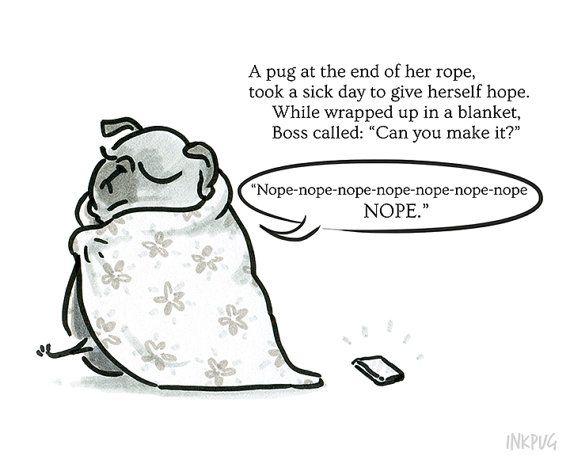 Pug Poetry Nope Nope Nope Illustrated Pug Poem Print by
