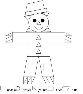 scarecrow color by shape  KindergartenKlubcom  Pinterest