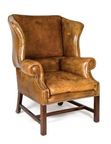George Iii Style Mahogany Wing Chair The Leather Upholstered Back And Enclosed Sides Above A Loose Cushion Seat Raised Chair Leather Furniture Leather Chair