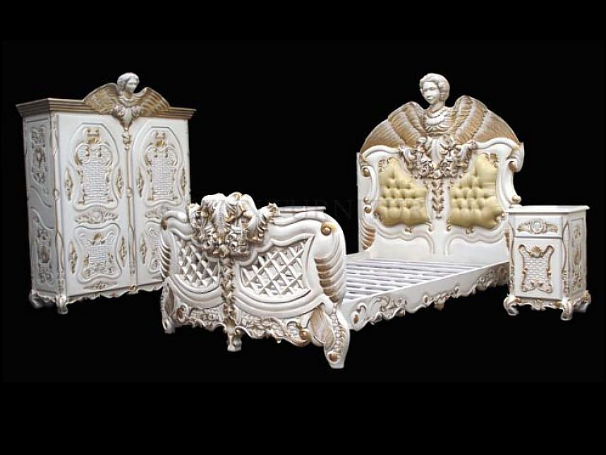 4 Pc White U0026 Gold Ornate Heavily Carved Angel Bed Set ...