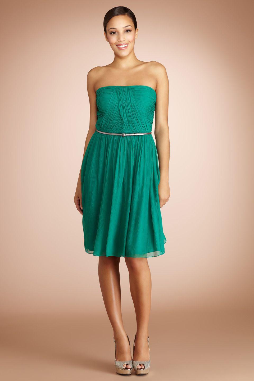 Emerald green chiffon bridesmaid dress by @Donna Morgan | Emerald ...