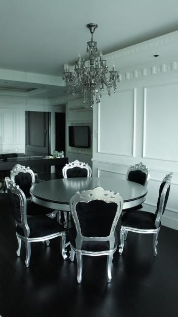 Pictures of Silver and black french style dining table and 6 ...