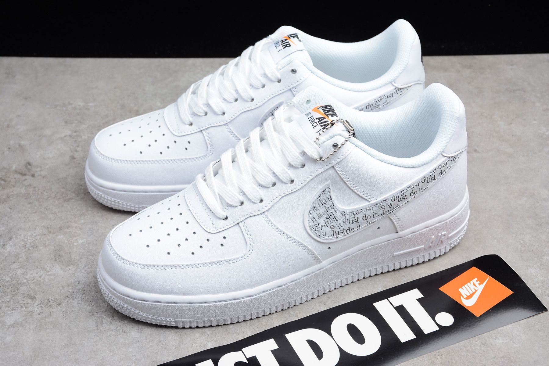 Nike Air Force 1 Lv8 Just Do It White Black Total Orange Bq5361