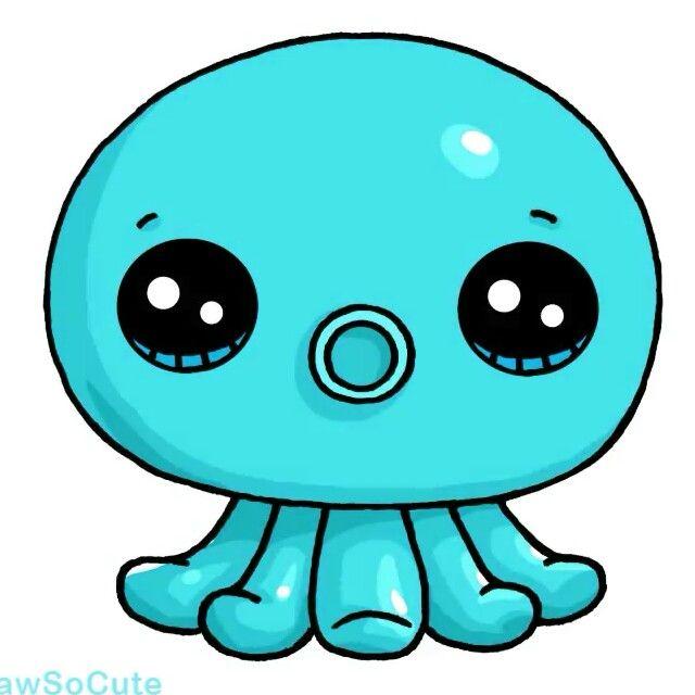 Rainbow octopus 6 draw so cute pinterest kawaii for Cute octopus drawing