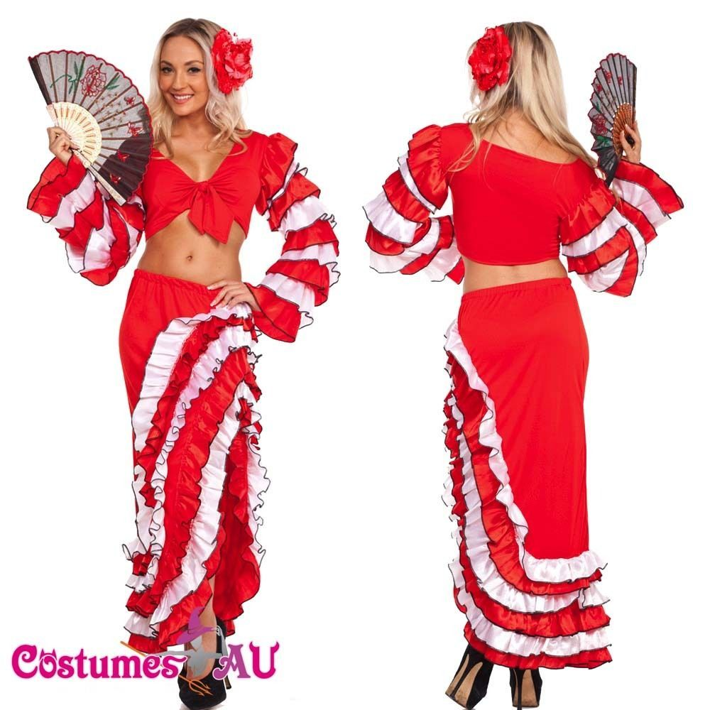 spanish mexican flamenco latin dancer costume can can saloon dancing fancy dress costumesau dress - Can Can Dancer Halloween Costume