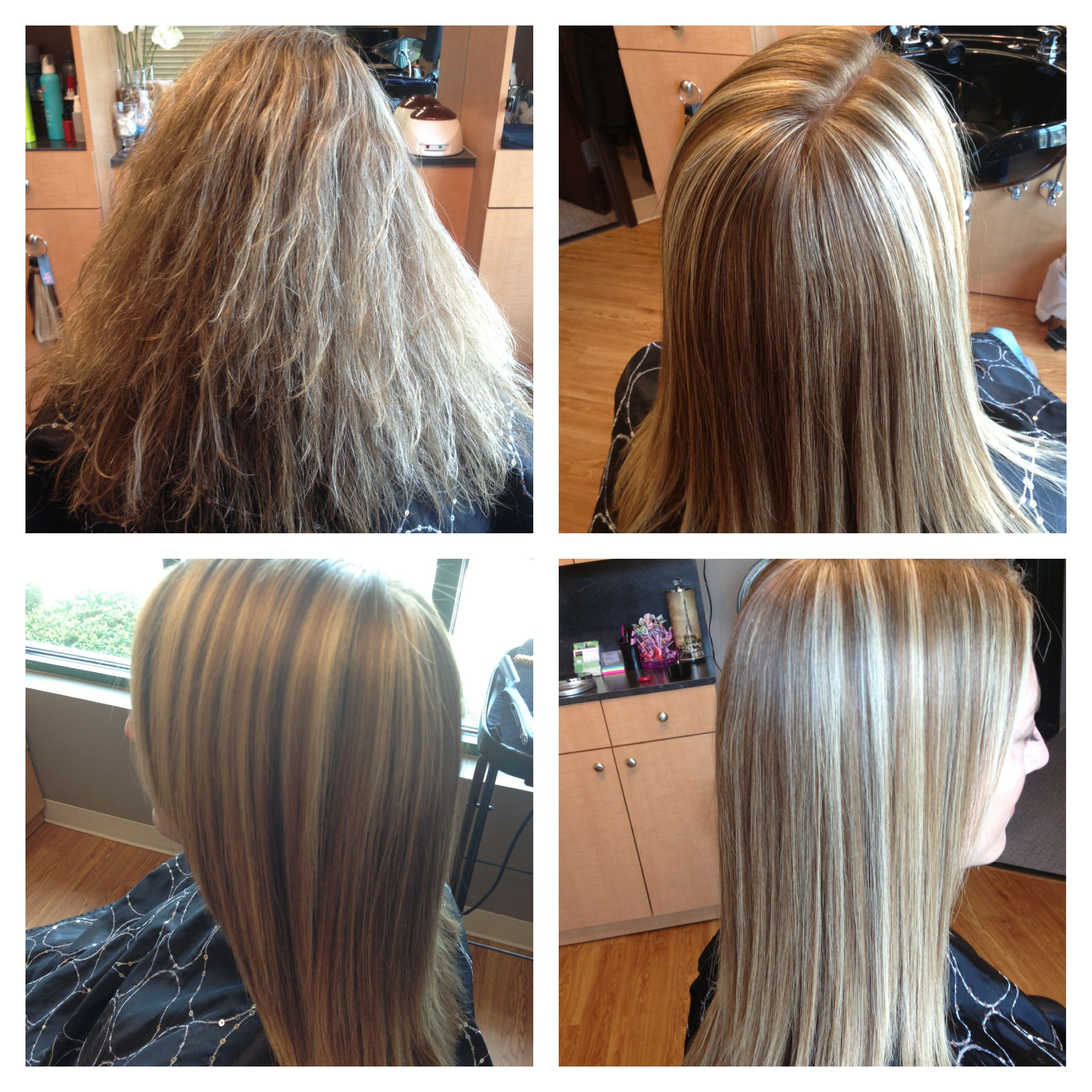 Blonde Highlights Lowlights And Keratin Treatment Before And After