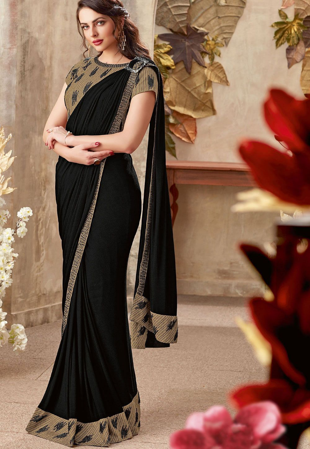 Buy Black designer party wear saree in UK, USA and Canada