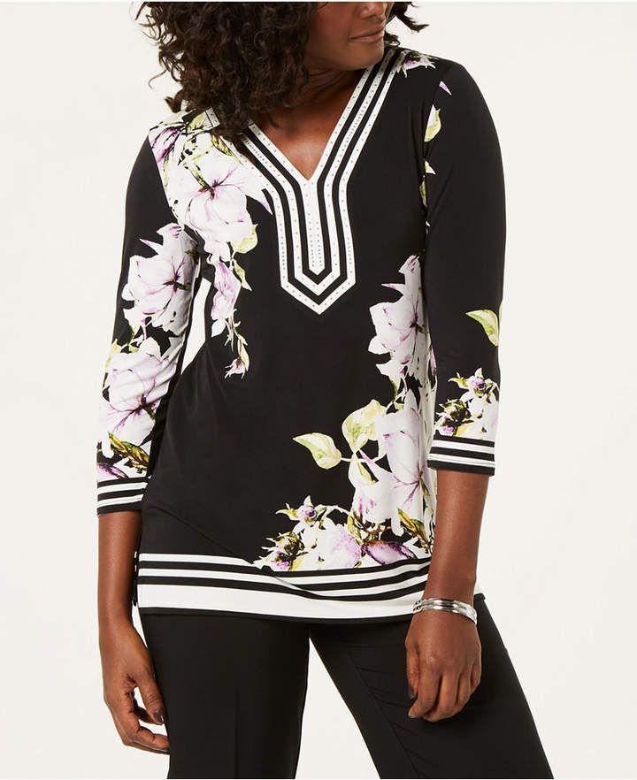 JM Collection Floral-Print Embellished Tunic - Women