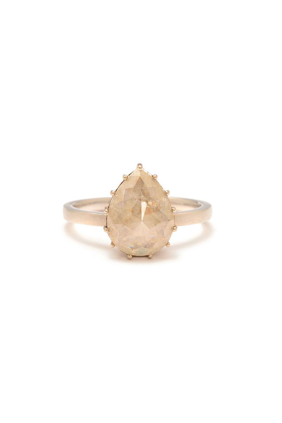 Jamie Joseph Pearshaped Raw Diamond Ring, $6,120; Greenwichjewelers  Alternative Engagement