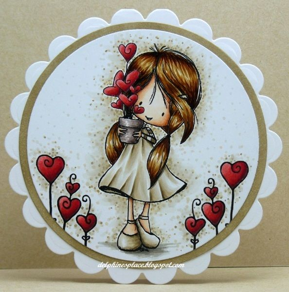 Images: Tiddly Inks Wryn - Grow a Little Love, Grow A Little Love Sentiment  Copics: E000, 00, 02, 11, 31, 33, 35, 37, 40, 41, 43, 71, 74, 77, R22, 24, 27, 29, 5, W0, 1, 3  Dies: Nestabilities Scalloped and Classic Circles