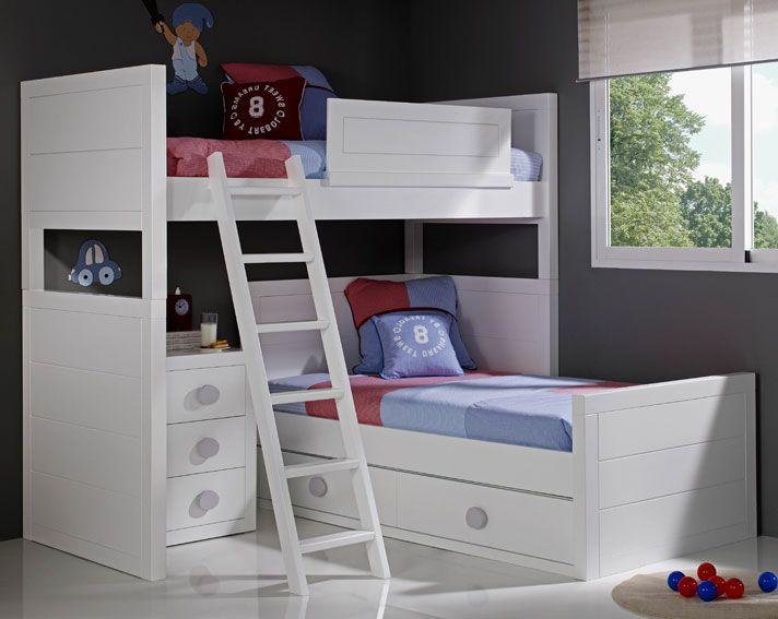 Dormitorio infantil sport literas pinterest for Camas nido infantiles