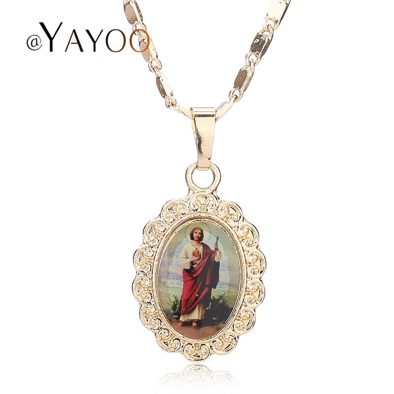 Fine Pendant Jesus Necklace Women Men Cross Beads Jewelry Trendy  Gold Plated For Vintage Statement Holiday Accessories