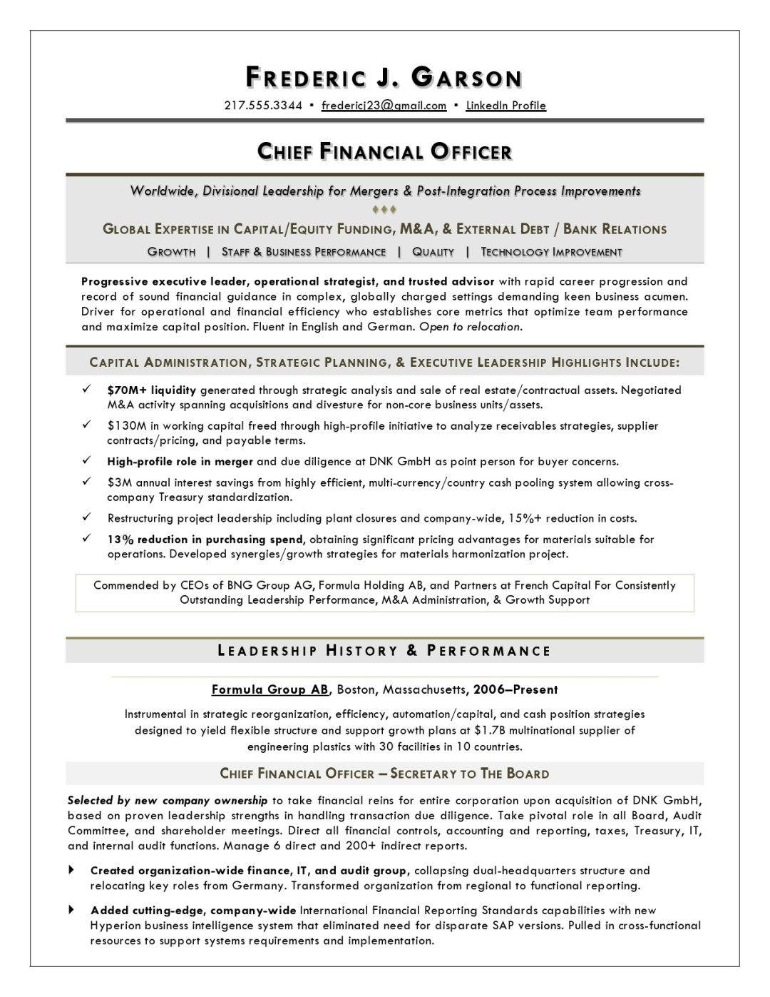 CFO Resume Sample Page 1