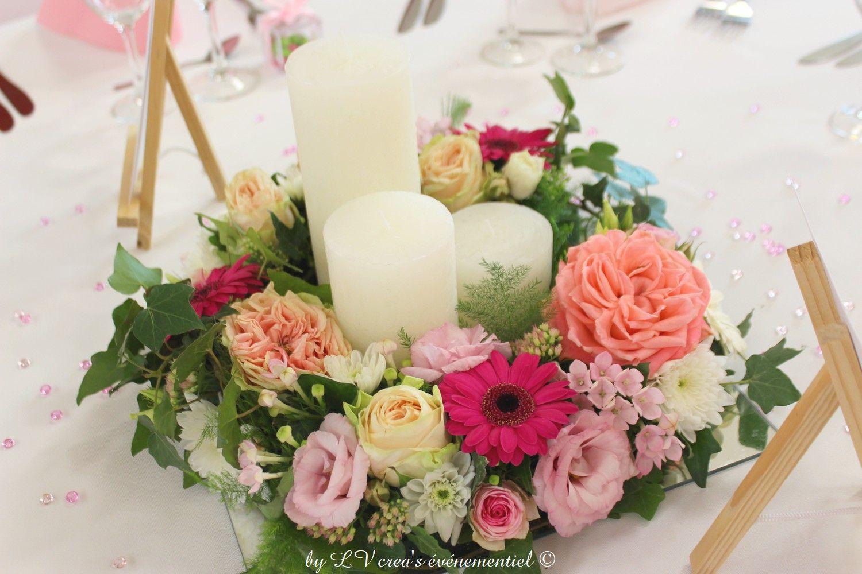 Centre De Table Rond Avec Bougie Au Centre Couleur Mariage Rose Pale Fleurs Rose Rose A Table Mariage Couleur Table Mariage Ronde Deco Table Mariage Champetre