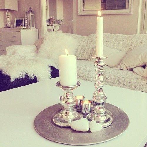 Coffee table center piece Couchtische dekorieren, Kerzen