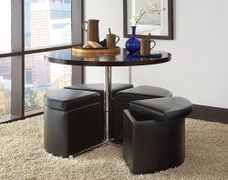 Cosmo 5 Piece Adjustable Height Storage Dinette 498 Coffee