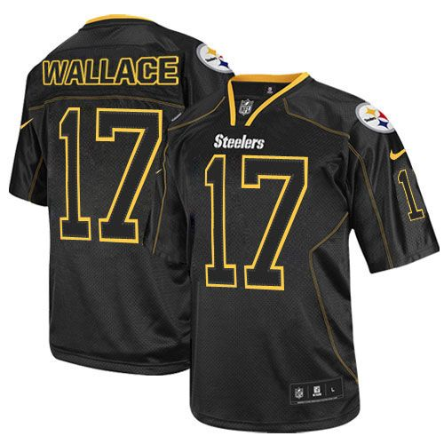 d0a8b0ddc Nike Elite Mens Pittsburgh Steelers  17 Mike Wallace Lights Out Black NFL  Jersey 129.99