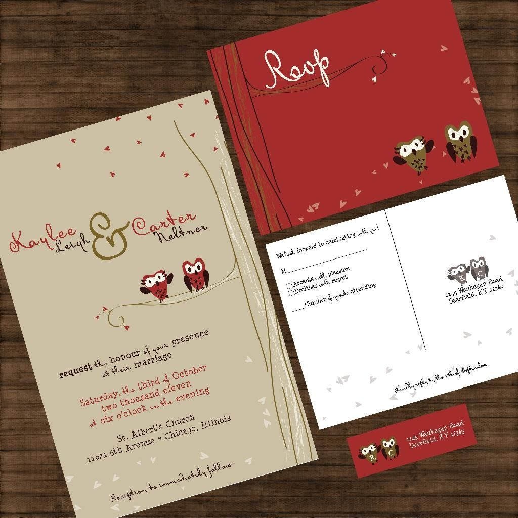 Wedding Invitation - Owls in a Tree - Tan and Red - Personalized ...