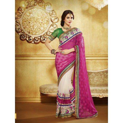 Wedding White Sarees Online: Georgette & Rose Silk Indian Designer Embroidered Saree