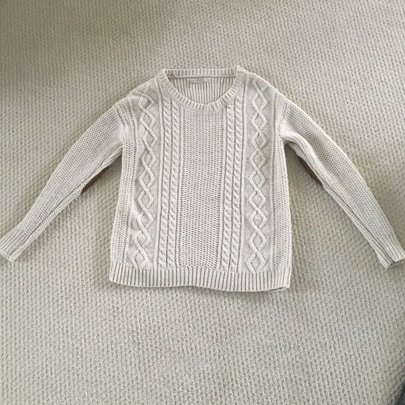 Urban outfitters cable knit cream sweater size XS Coincidence & Chance brand. Gently worn. Cute brown elbow patches. Urban Outfitters Sweaters Crew & Scoop Necks