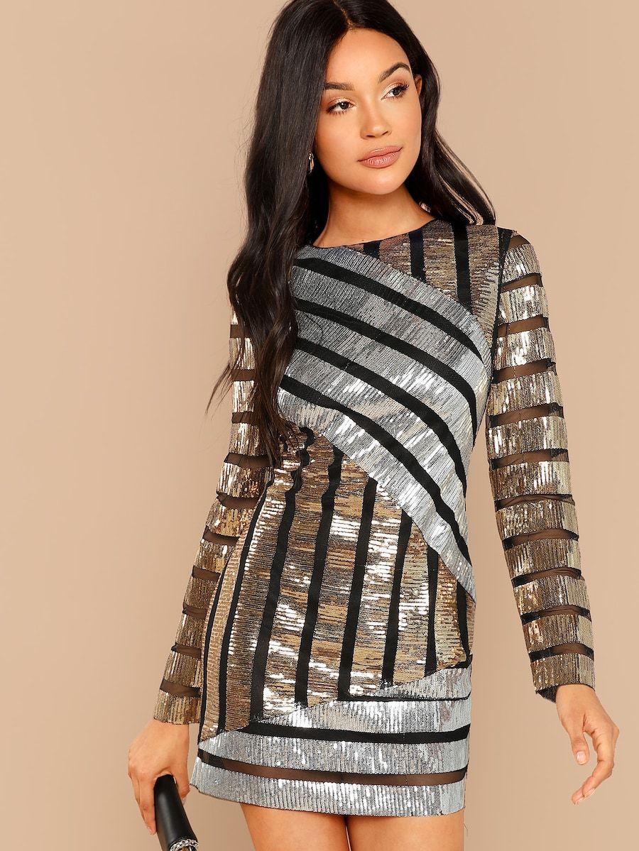 Cut and Sew Sequin Textured Dress -SheIn(Sheinside)  ad9e43937ec5