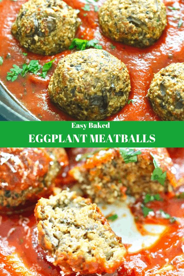 Eggplant Meatballs - Baked - Pinch Me Good