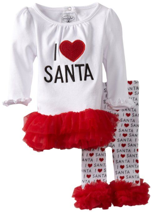 d6eb0cf1f Amazon.com: Mud Pie Baby-Girls Infant I Love Santa Tunic and Leggings Set:  Clothing