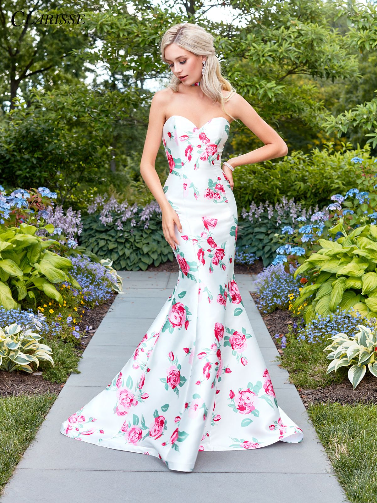 Strapless White Print Mermaid Prom Dress 3424 Backless Mermaid Prom Dresses Mermaid Formal Gowns Mermaid Prom Dresses [ 1600 x 1200 Pixel ]