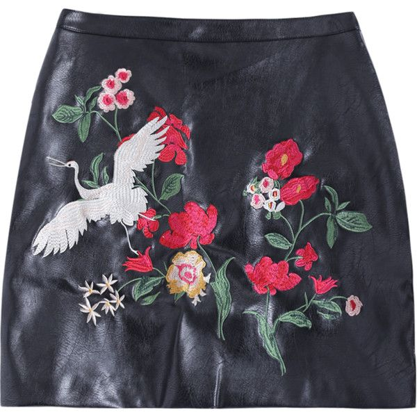 Embroidered PU Leather Mini Skirt Black (56 BAM) ❤ liked on Polyvore featuring skirts, mini skirts, leatherette skirt, embroidered skirt, pleather mini skirt, pu leather skirt and short skirts