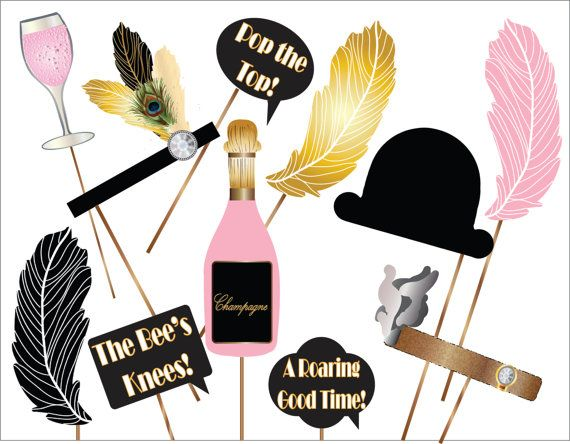 Roaring 20s Photo Booth Props Printable Black Feather Bowler Hat
