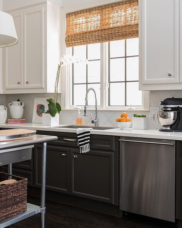 Kitchen Cabinets Grey Lower White Upper: Amazing Kitchen Features Tuxedo Cabinets: White Upper