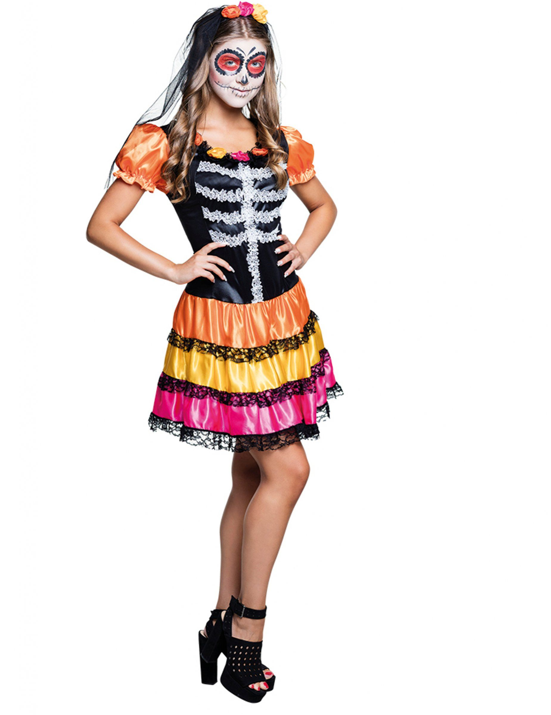 Short femme LE JOUR DES MORTS Senorita Squelette Costume Halloween Robe Fantaisie