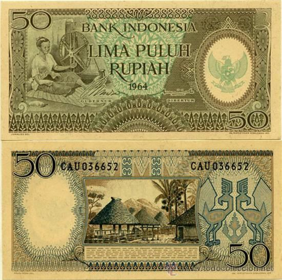 BILLETE INDONESIA - 50 RUPIAS - 1964