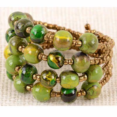Beaded Bracelet - Spin Art Pebble Cuff Bracelet, Lime    $14.99
