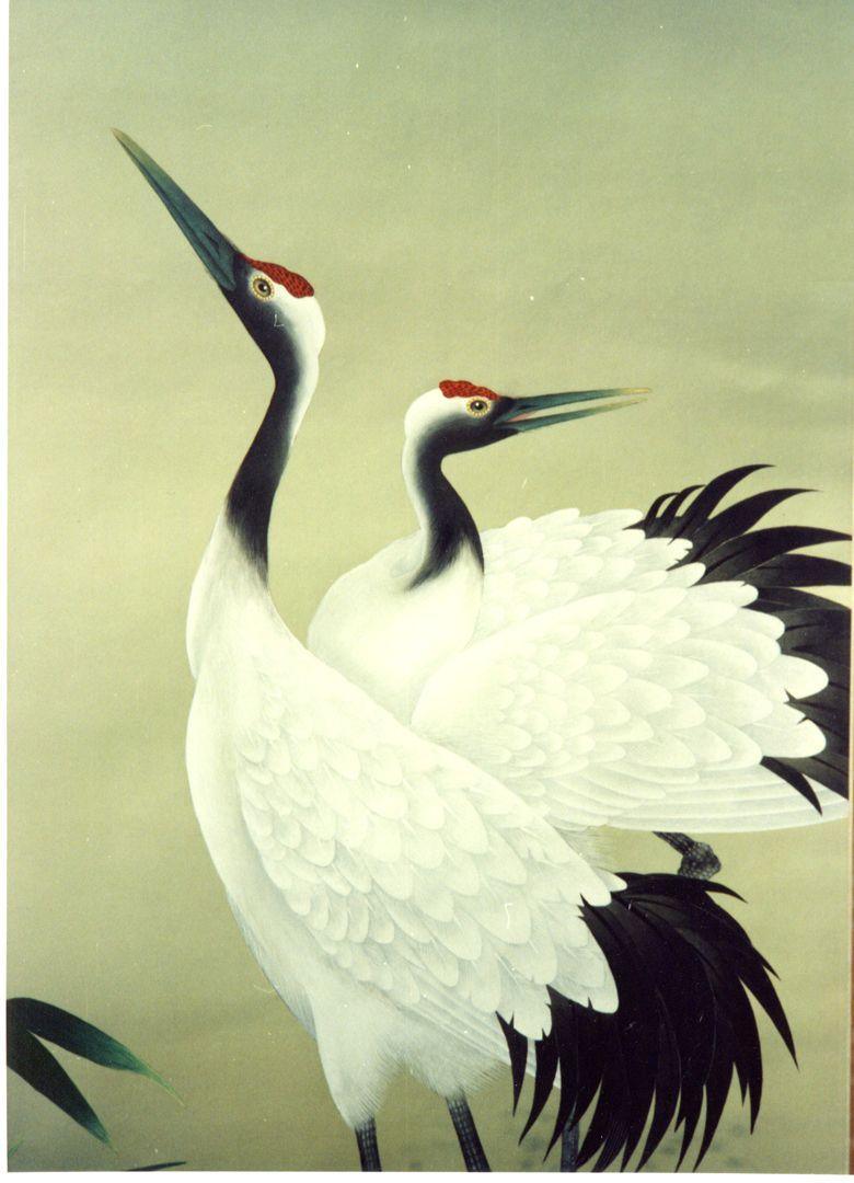 近世日本画 双鶴 絹本. | 日本画, 日本美術, アジアのアート
