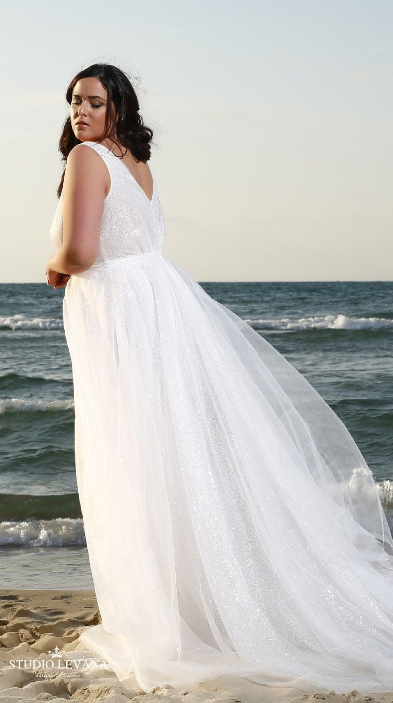 Plus size tulle wedding dress  Plus size glittering tulle wedding gown from Studio Levana  Some